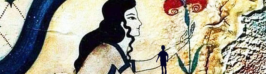 fresque minoène représentant une jeune femme cueillant une fleur pour illustrer la valeur-dissociation